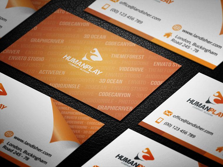 Free Orange Elegant & Clean Business Card